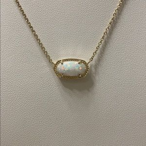 Kendra Scott Elisa White Opal Gold Plated Necklace